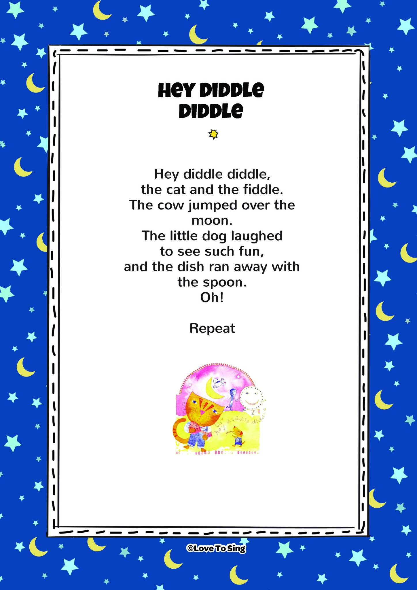 hey diddle diddle kids video song with free lyrics u0026 activities