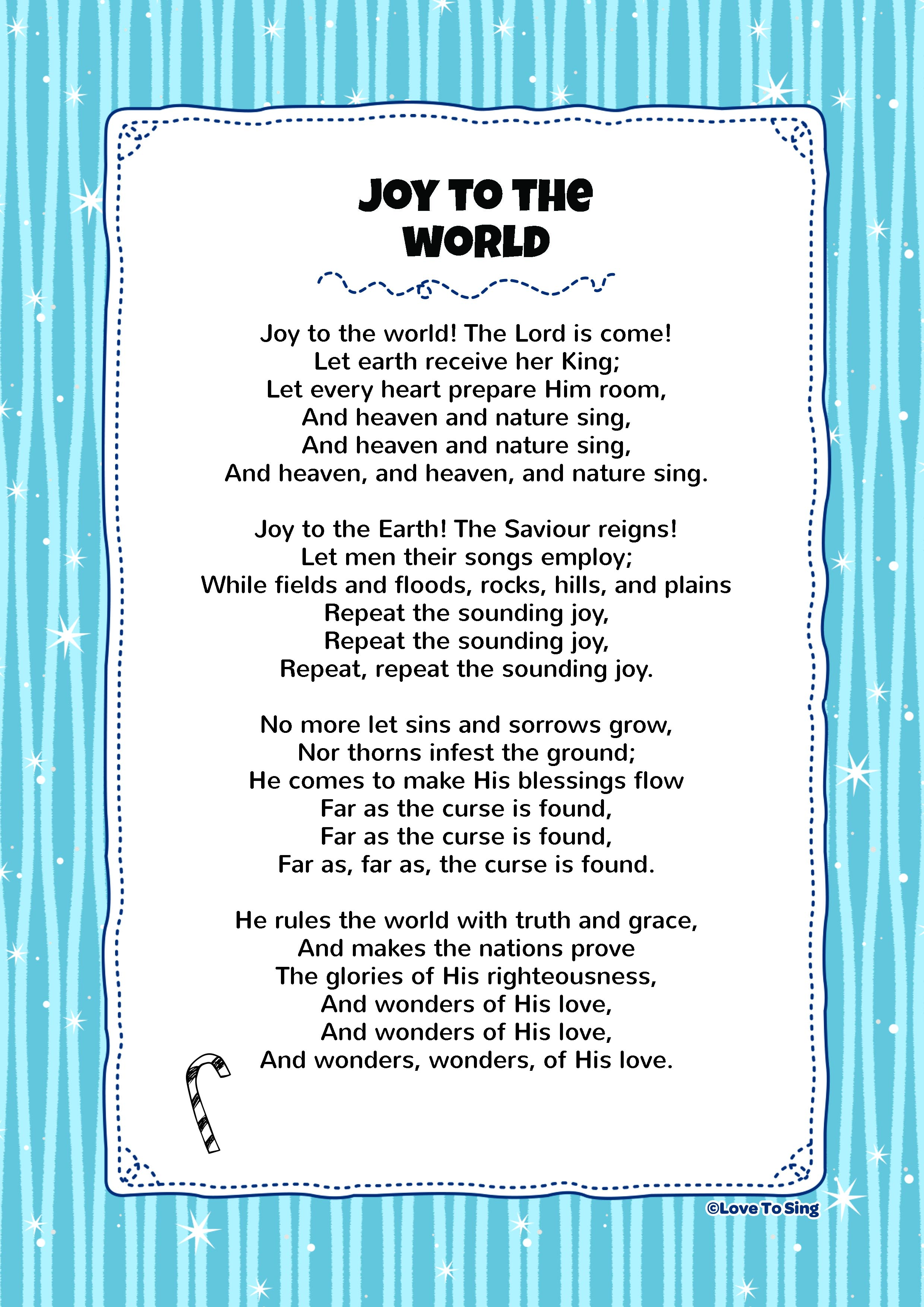 It's just a photo of Eloquent Joy to the World Lyrics Printable