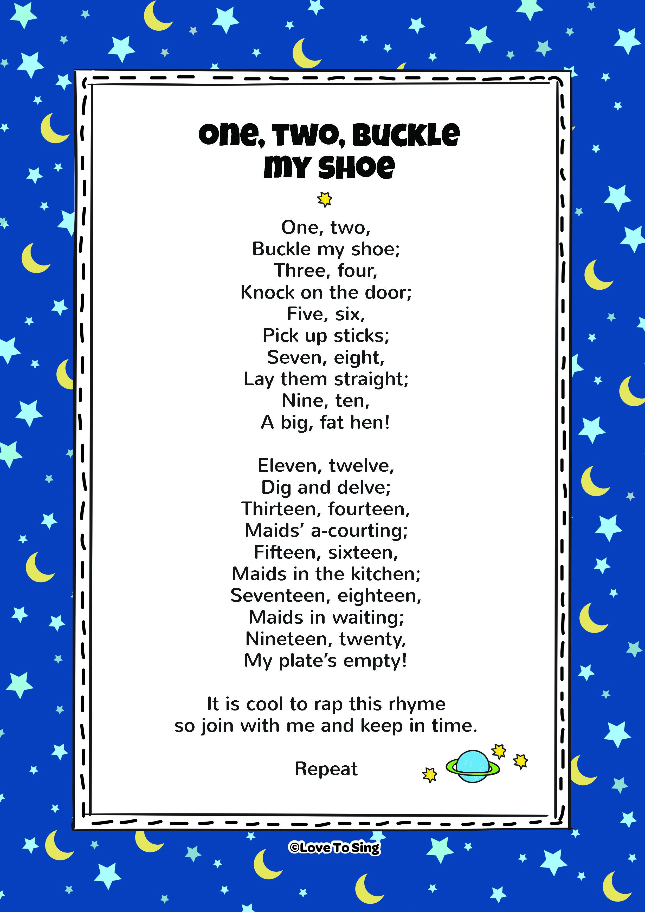 One two buckle my shoe kids video song with free lyrics amp activities