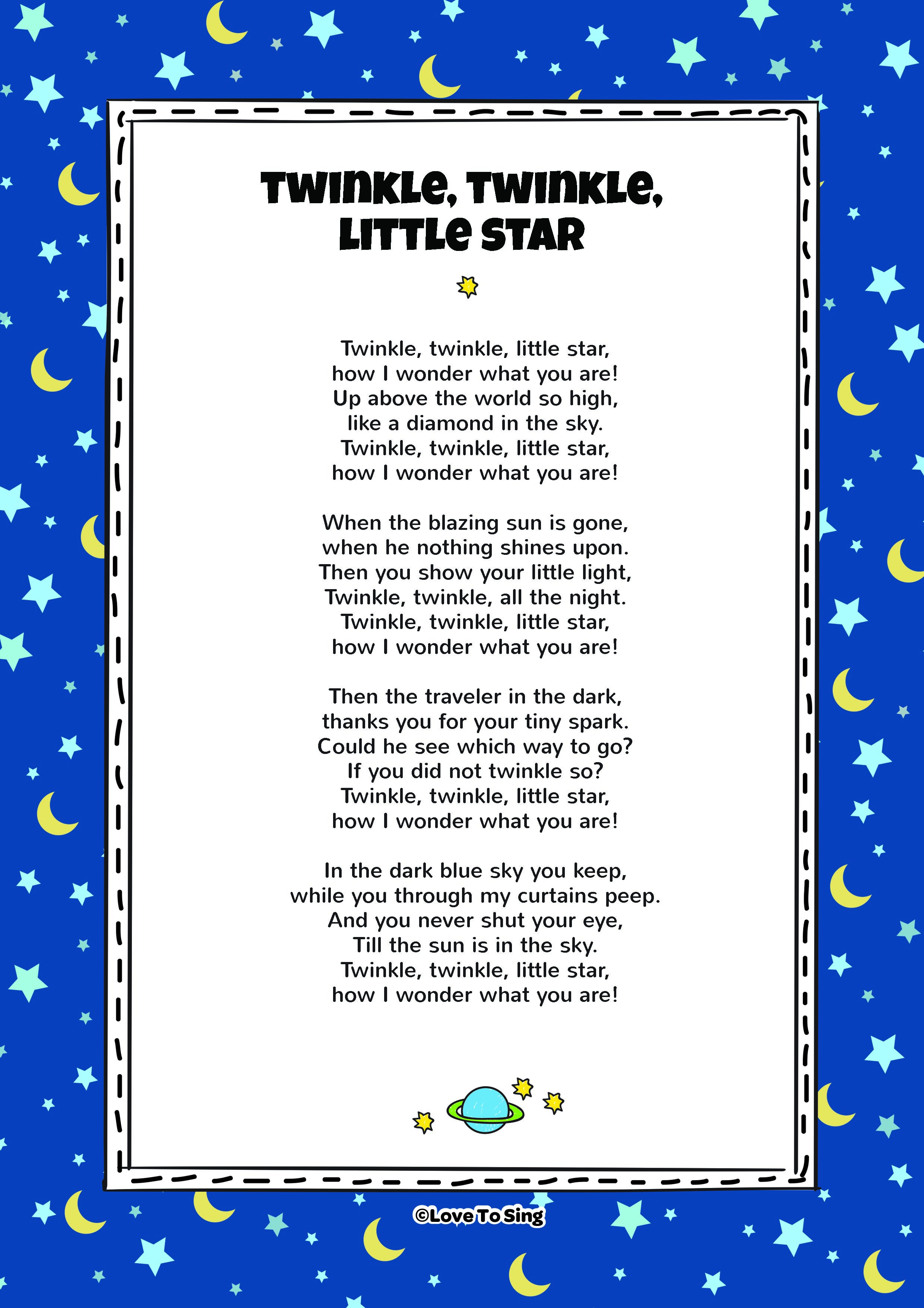 twinkle twinkle little star kids video song with free lyrics
