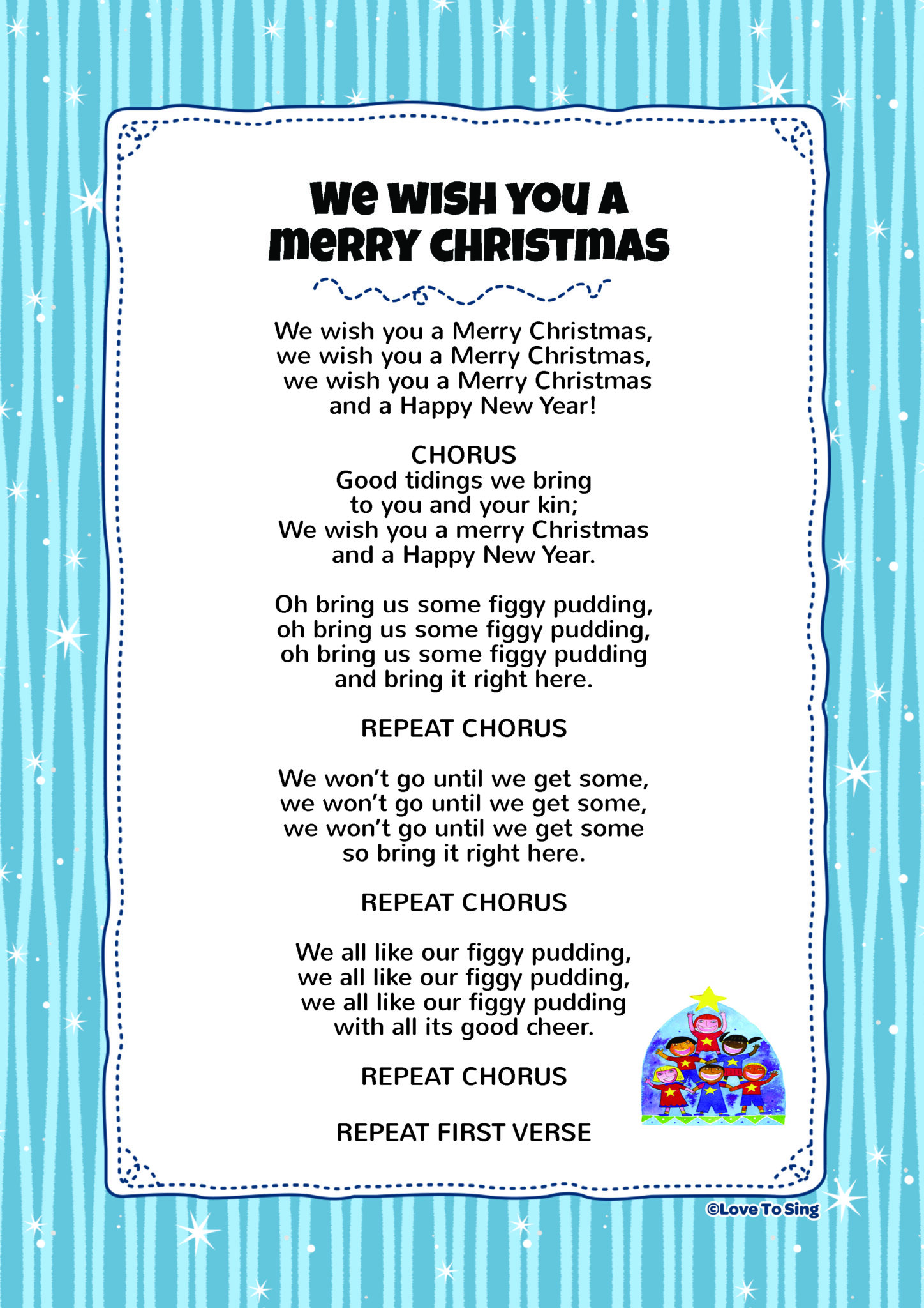 It's just an image of Playful Words to We Wish You a Merry Christmas Printable